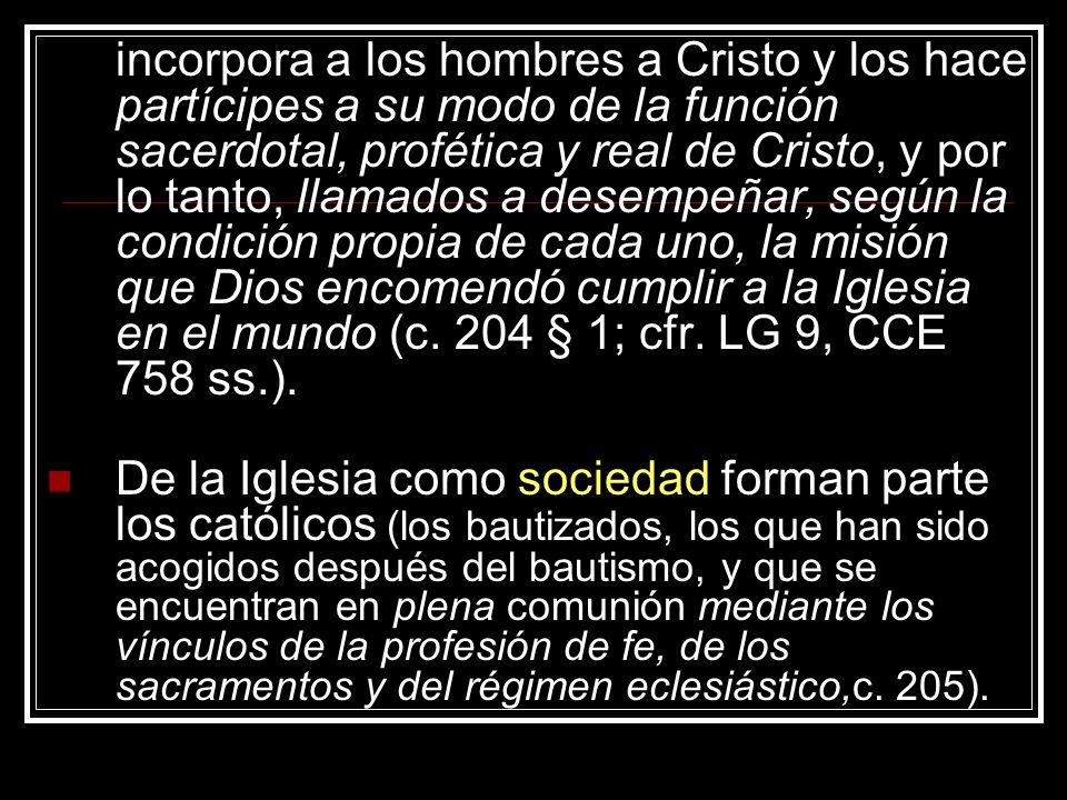 incorpora a los hombres a Cristo y los hace partícipes a su modo de la función sacerdotal, profética y real de Cristo, y por lo tanto, llamados a dese