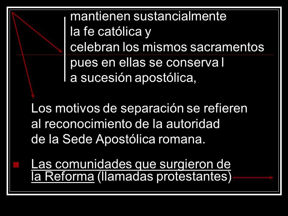mantienen sustancialmente la fe católica y celebran los mismos sacramentos pues en ellas se conserva l a sucesión apostólica, Los motivos de separació