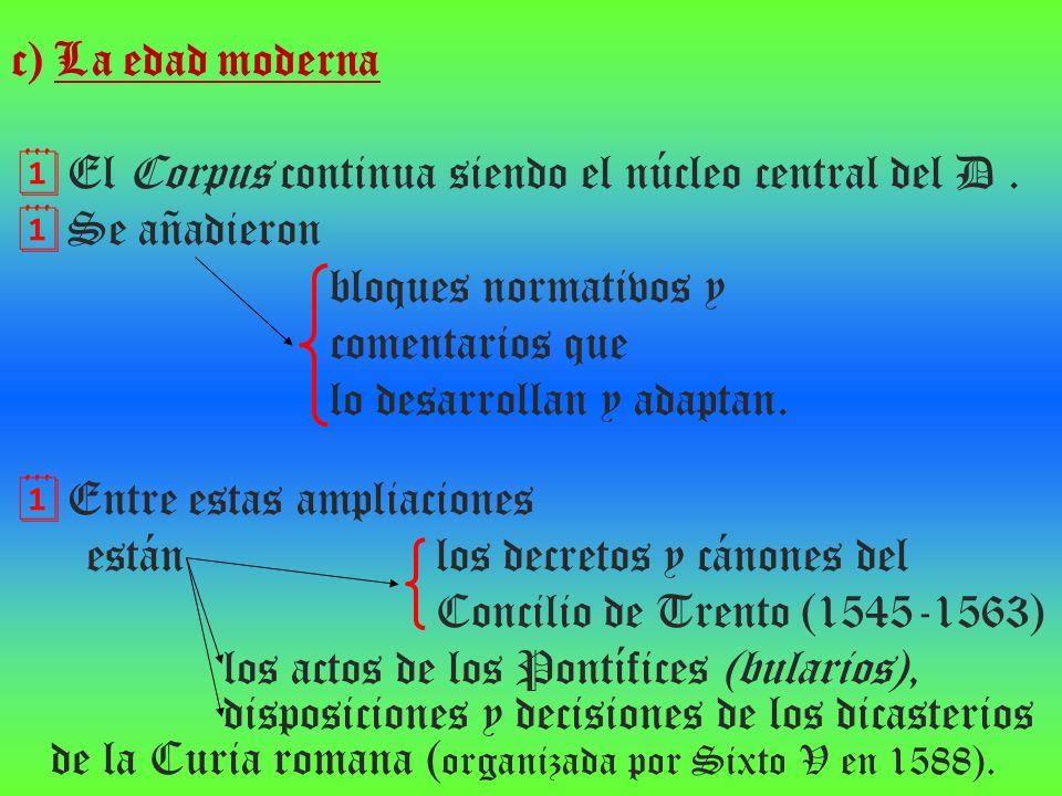 c) La edad moderna El Corpus continua siendo el núcleo central del D. Se añadieron bloques normativos y comentarios que lo desarrollan y adaptan. Entr