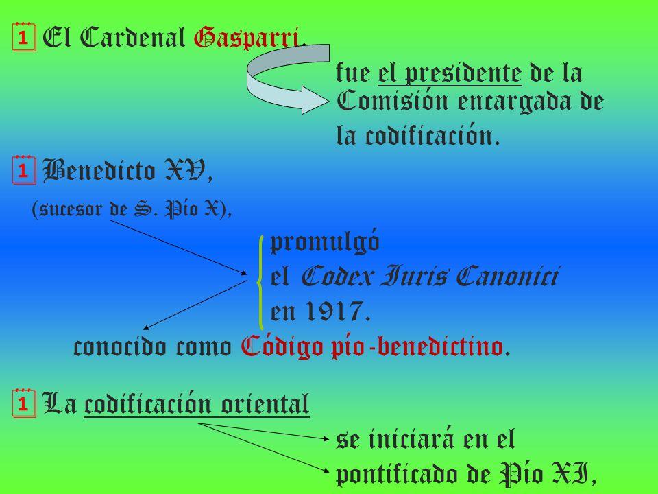 El Cardenal Gasparri, fue el presidente de la Comisión encargada de la codificación. Benedicto XV, (sucesor de S. Pío X), promulgó el Codex Iuris Cano