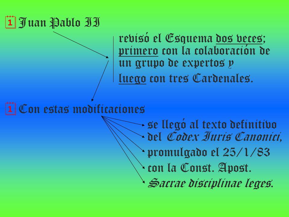 Juan Pablo II revisó el Esquema dos veces; primero con la colaboración de un grupo de expertos y luego con tres Cardenales. Con estas modificaciones s