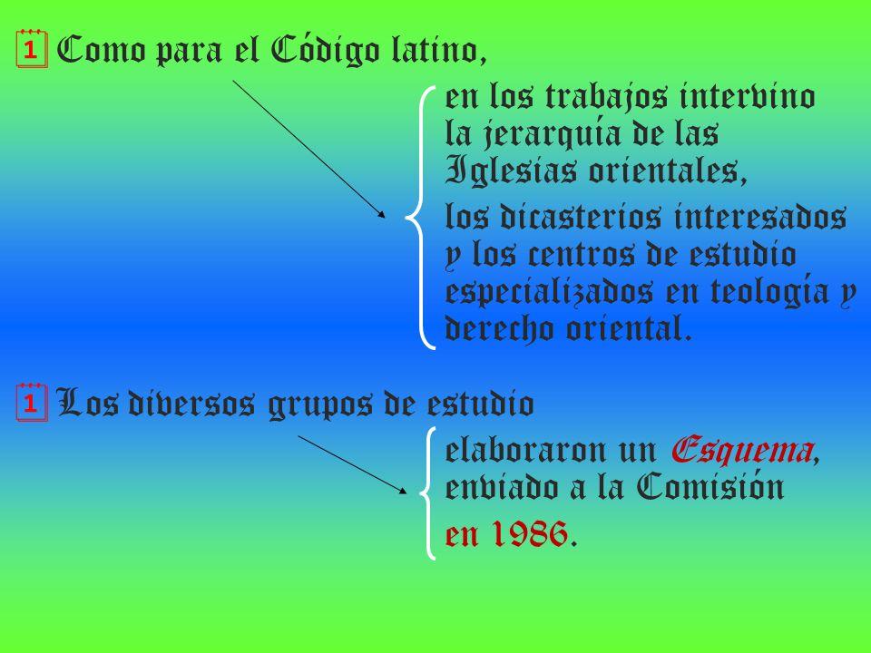 Como para el Código latino, en los trabajos intervino la jerarquía de las Iglesias orientales, los dicasterios interesados y los centros de estudio es
