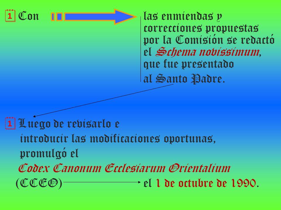 Con las enmiendas y correcciones propuestas por la Comisión se redactó el Schema novissimum, que fue presentado al Santo Padre. Luego de revisarlo e i