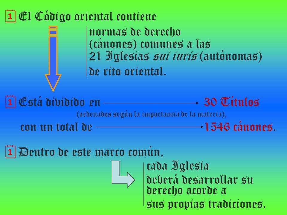 El Código oriental contiene normas de derecho (cánones) comunes a las 21 Iglesias sui iuris (autónomas) de rito oriental. Está dividido en 30 Títulos