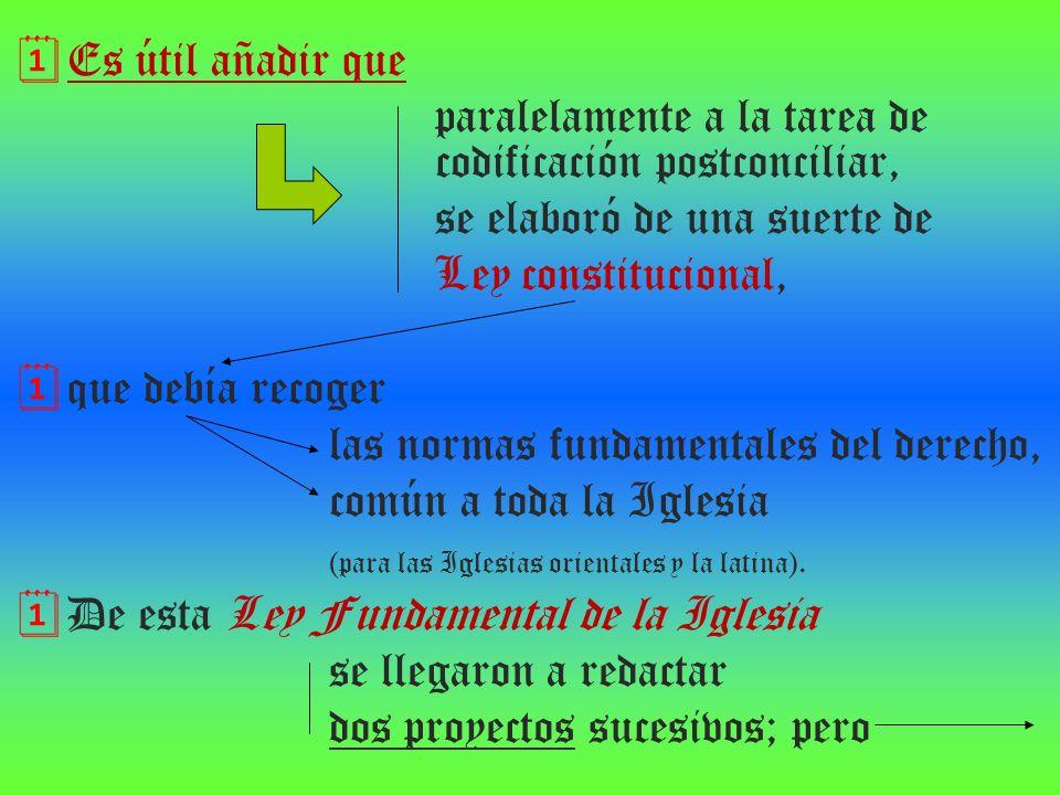 Es útil añadir que paralelamente a la tarea de codificación postconciliar, se elaboró de una suerte de Ley constitucional, que debía recoger las norma