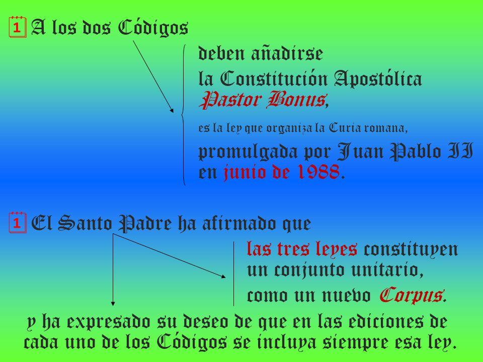 A los dos Códigos deben añadirse la Constitución Apostólica Pastor Bonus, es la ley que organiza la Curia romana, promulgada por Juan Pablo II en juni