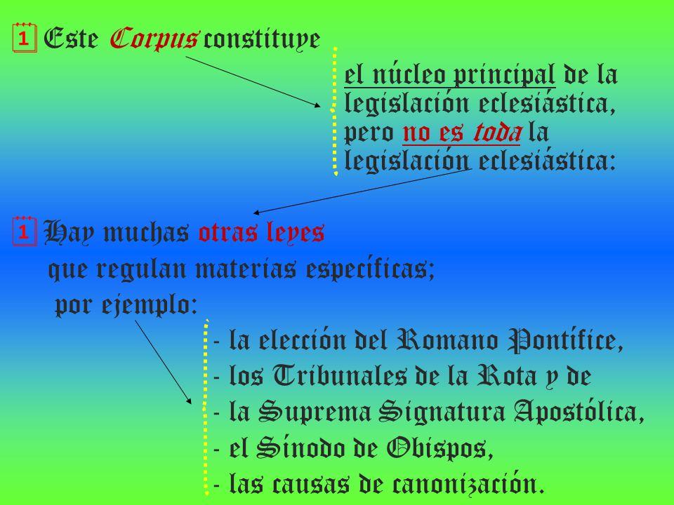 Este Corpus constituye el núcleo principal de la legislación eclesiástica, pero no es toda la legislación eclesiástica: Hay muchas otras leyes que reg