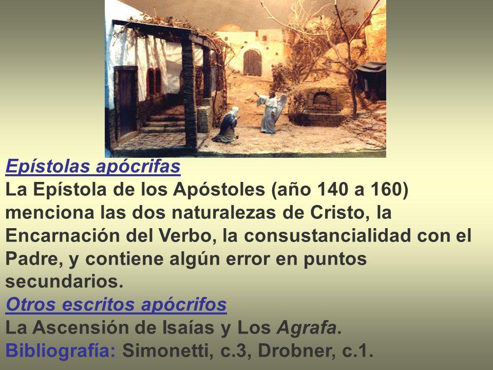 Epístolas apócrifas La Epístola de los Apóstoles (año 140 a 160) menciona las dos naturalezas de Cristo, la Encarnación del Verbo, la consustancialida
