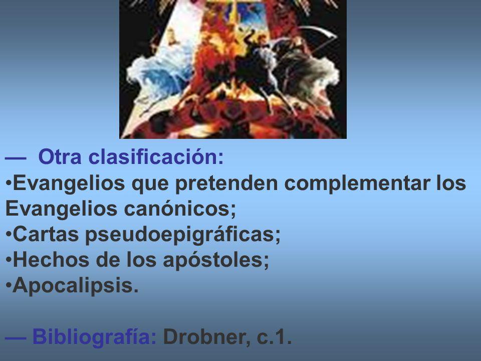 Otra clasificación: Evangelios que pretenden complementar los Evangelios canónicos; Cartas pseudoepigráficas; Hechos de los apóstoles; Apocalipsis. Bi