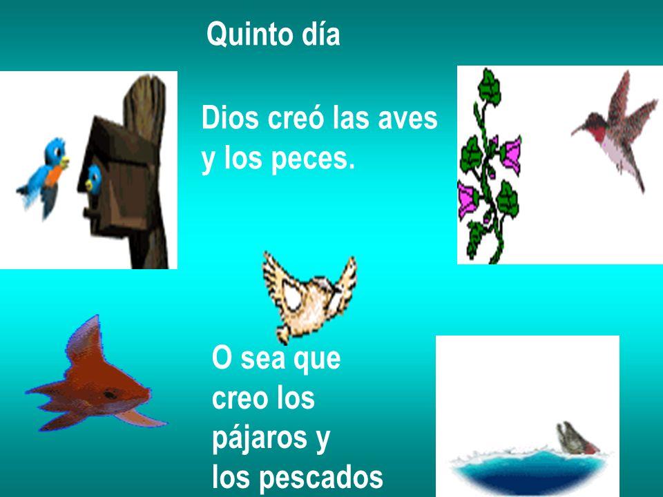 Quinto día Dios creó las aves y los peces. O sea que creo los pájaros y los pescados