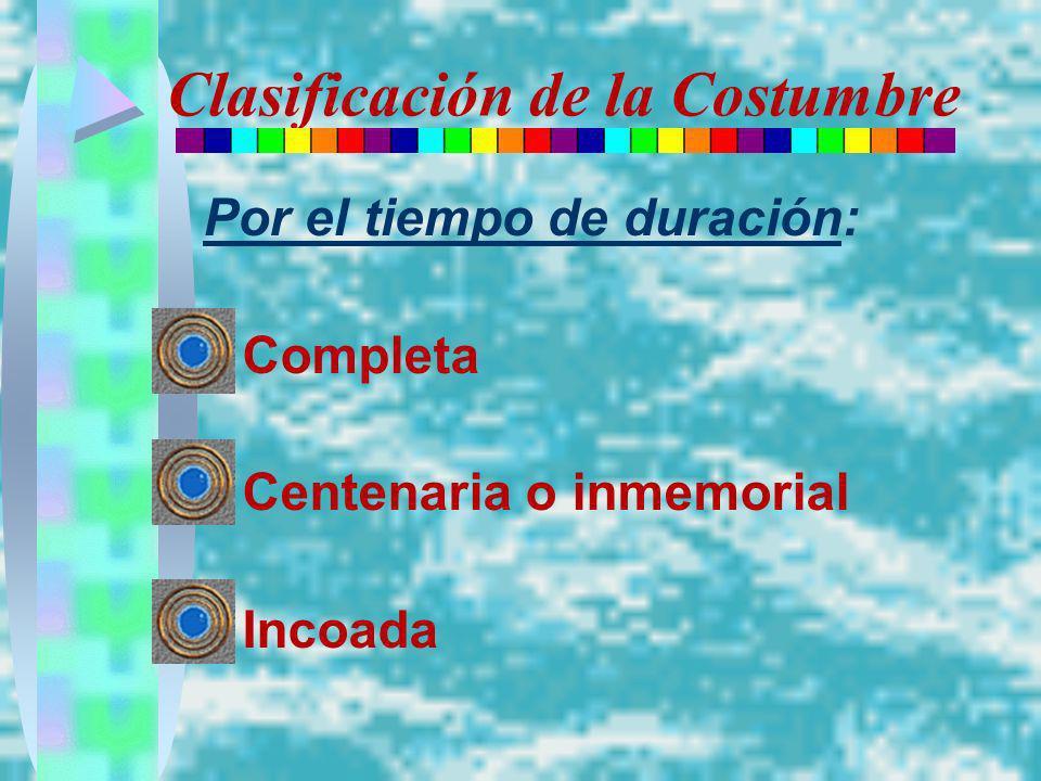 Clasificación de la Costumbre Por el tiempo de duración: Completa Centenaria o inmemorial Incoada