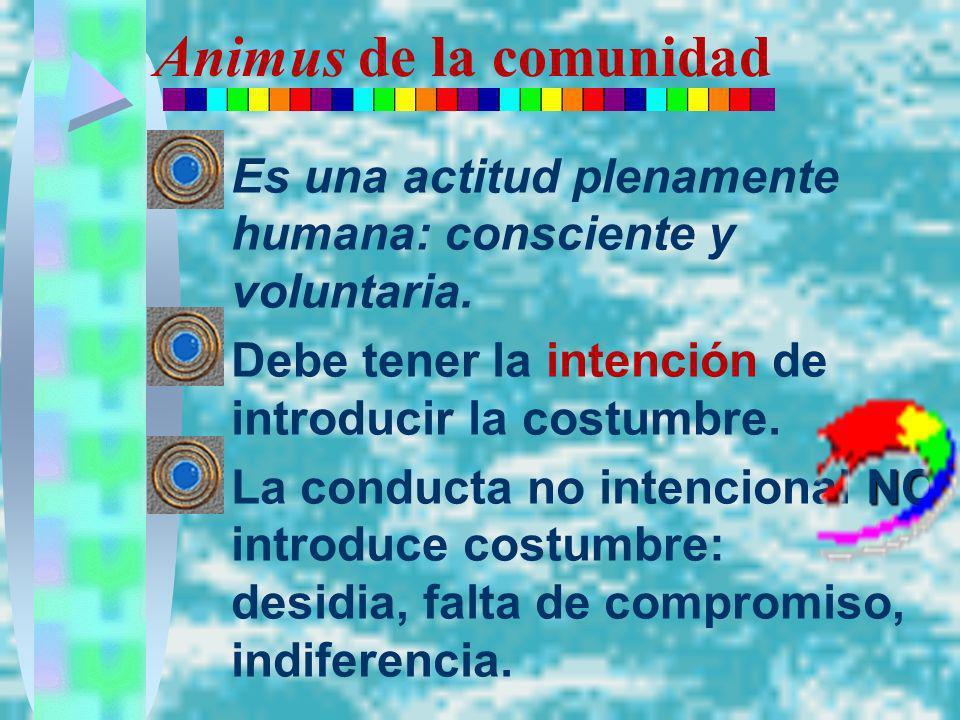 Animus de la comunidad Es una actitud plenamente humana: consciente y voluntaria. Debe tener la intención de introducir la costumbre. NOLa conducta no