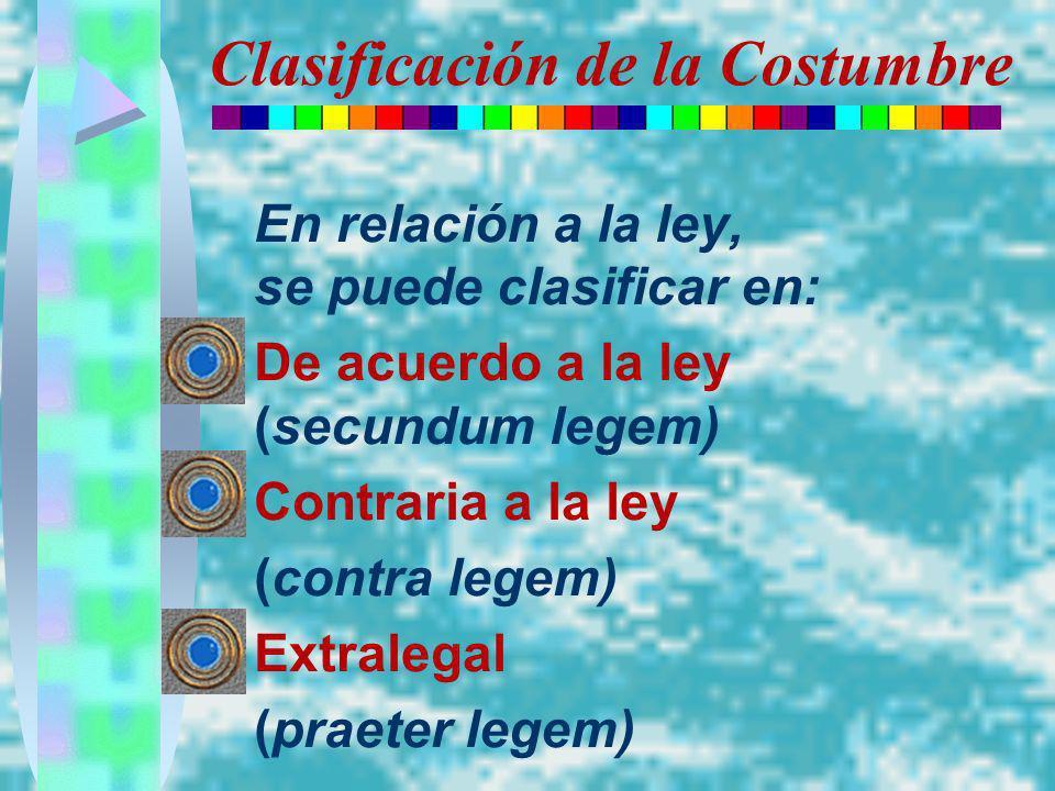 Clasificación de la Costumbre En relación a la ley, se puede clasificar en: De acuerdo a la ley (secundum legem) Contraria a la ley (contra legem) Ext