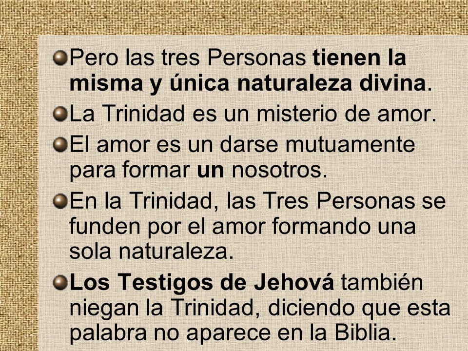 Pero las tres Personas tienen la misma y única naturaleza divina. La Trinidad es un misterio de amor. El amor es un darse mutuamente para formar un no