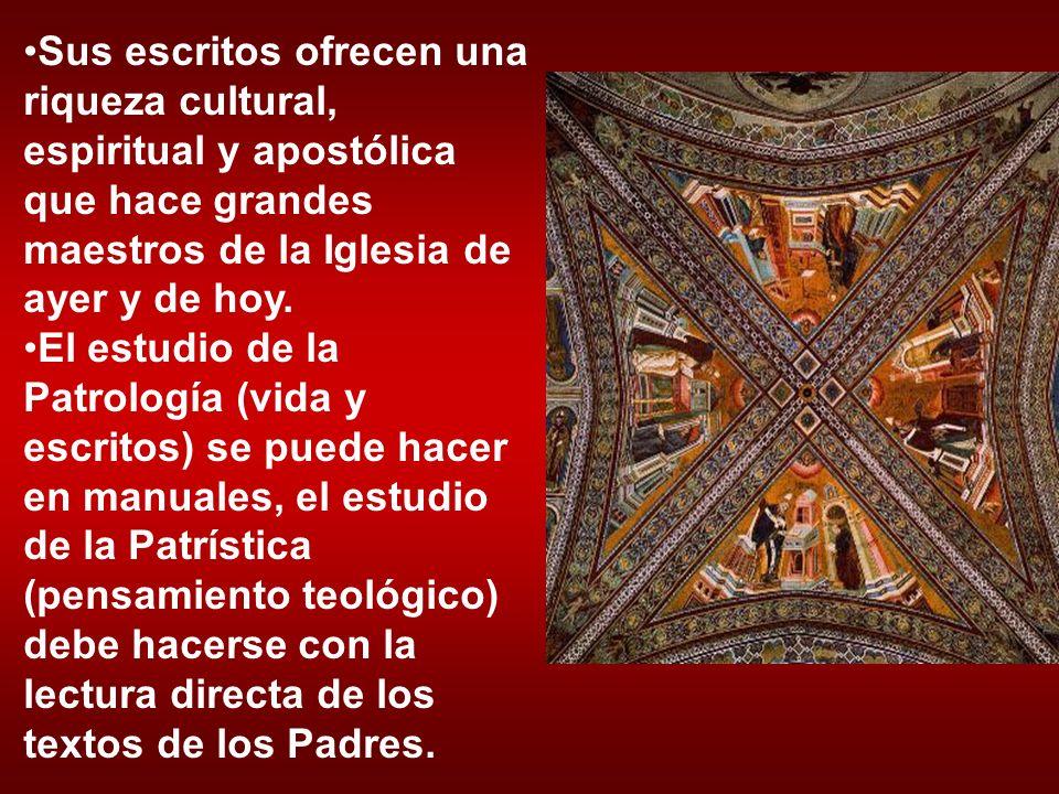 Sus escritos ofrecen una riqueza cultural, espiritual y apostólica que hace grandes maestros de la Iglesia de ayer y de hoy. El estudio de la Patrolog