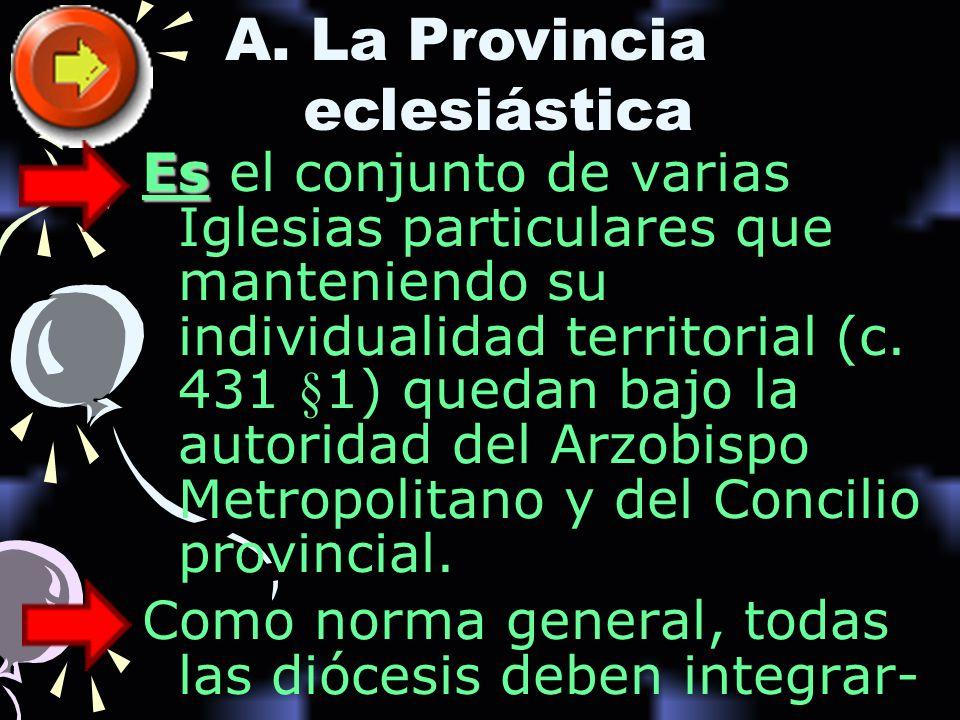 Es Es el conjunto de varias Iglesias particulares que manteniendo su individualidad territorial (c. 431 §1) quedan bajo la autoridad del Arzobispo Met
