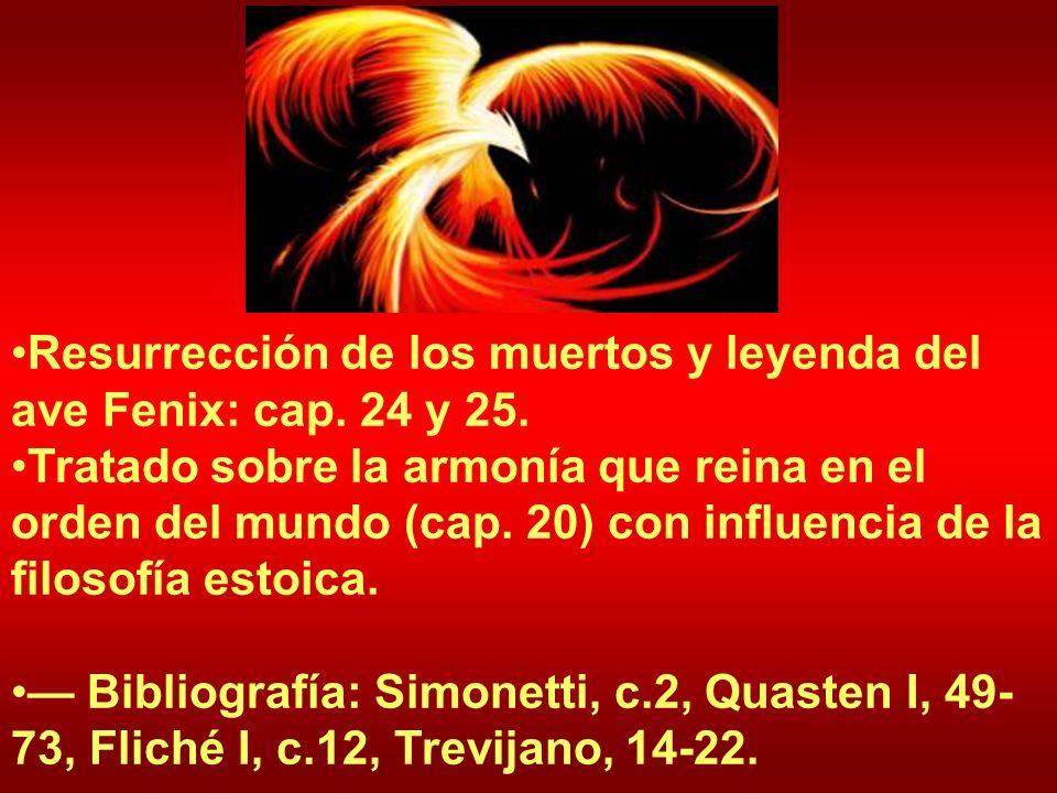Resurrección de los muertos y leyenda del ave Fenix: cap. 24 y 25. Tratado sobre la armonía que reina en el orden del mundo (cap. 20) con influencia d