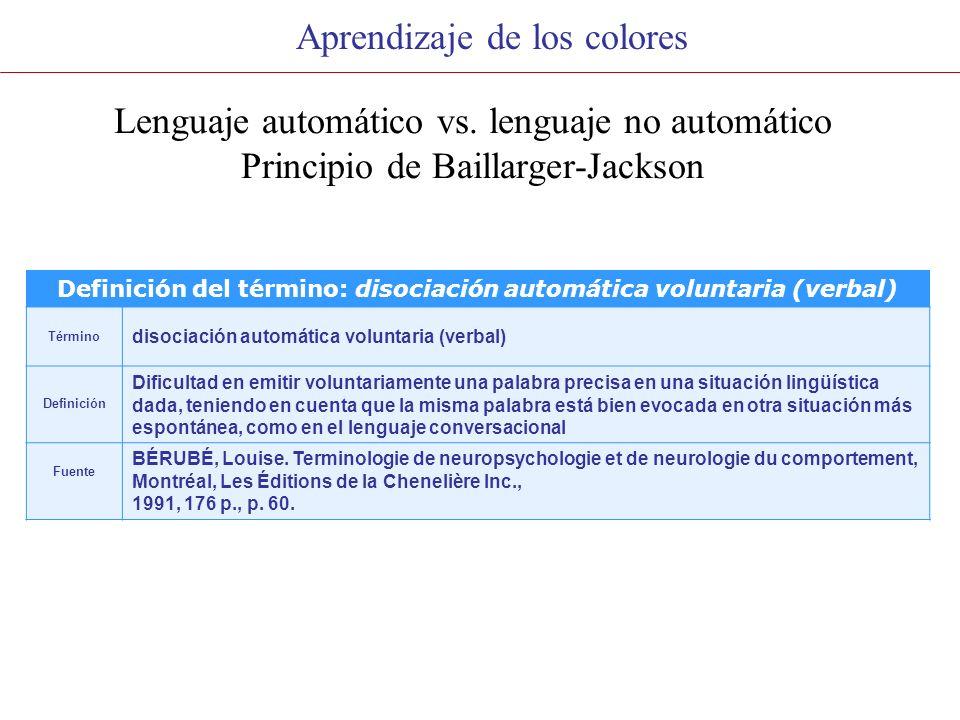 Aprendizaje de los colores Lenguaje automático vs.