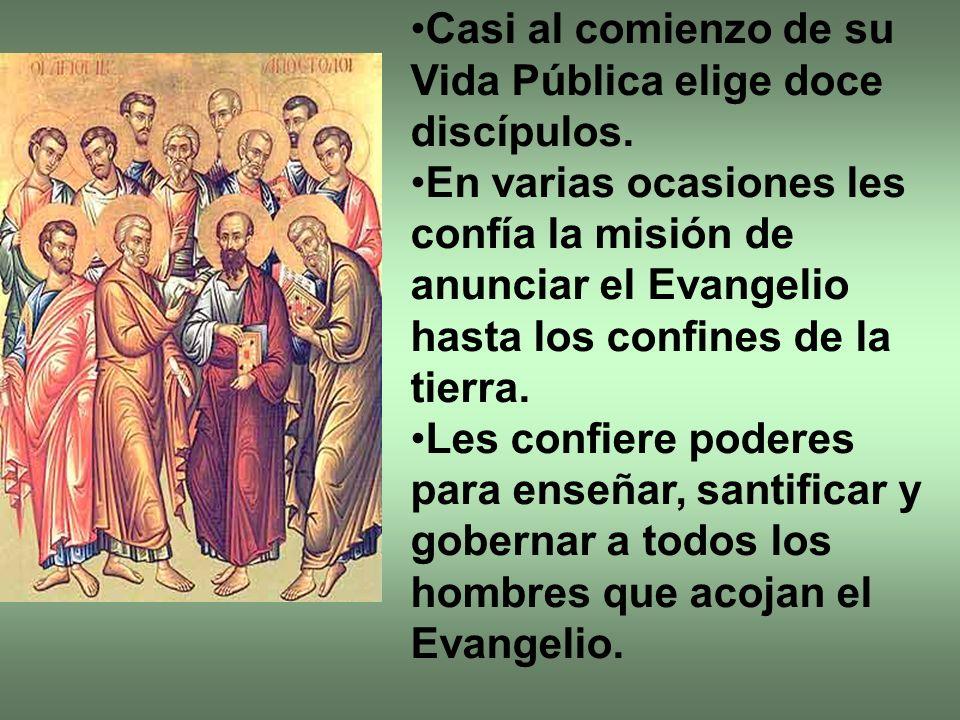 Casi al comienzo de su Vida Pública elige doce discípulos. En varias ocasiones les confía la misión de anunciar el Evangelio hasta los confines de la