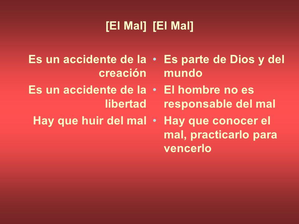 [El Mal] Es un accidente de la creación Es un accidente de la libertad Hay que huir del mal [El Mal] Es parte de Dios y del mundo El hombre no es resp
