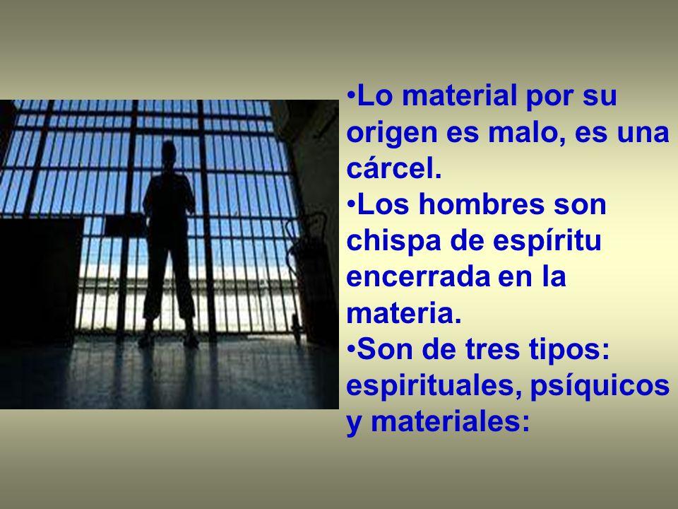 Lo material por su origen es malo, es una cárcel. Los hombres son chispa de espíritu encerrada en la materia. Son de tres tipos: espirituales, psíquic