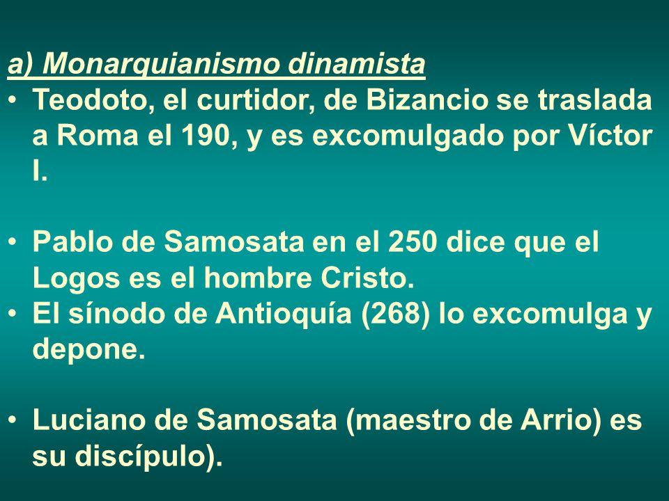 a) Monarquianismo dinamista Teodoto, el curtidor, de Bizancio se traslada a Roma el 190, y es excomulgado por Víctor I. Pablo de Samosata en el 250 di