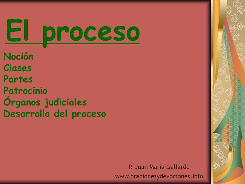 El proceso Noción Clases Partes Patrocinio Órganos judiciales Desarrollo del proceso P. Juan María Gallardo www.oracionesydevociones.info
