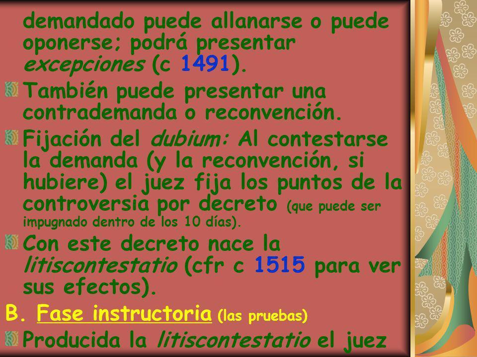 demandado puede allanarse o puede oponerse; podrá presentar excepciones (c 1491). También puede presentar una contrademanda o reconvención. Fijación d