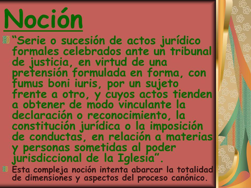 Noción Serie o sucesión de actos jurídico formales celebrados ante un tribunal de justicia, en virtud de una pretensión formulada en forma, con fumus