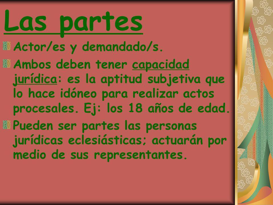 Las partes Actor/es y demandado/s. Ambos deben tener capacidad jurídica: es la aptitud subjetiva que lo hace idóneo para realizar actos procesales. Ej