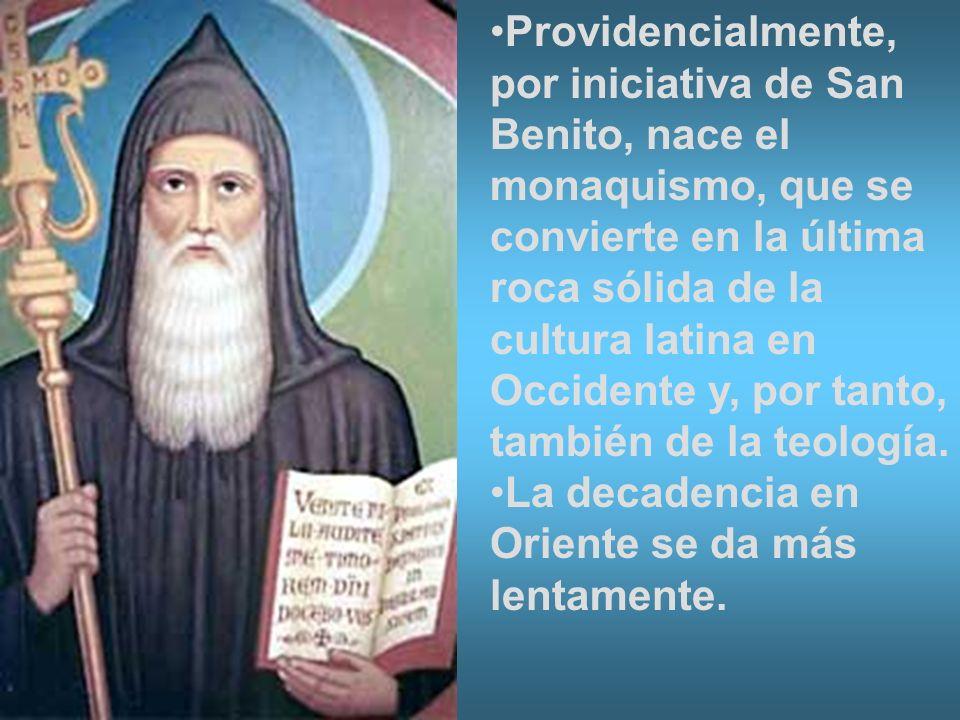 Providencialmente, por iniciativa de San Benito, nace el monaquismo, que se convierte en la última roca sólida de la cultura latina en Occidente y, po