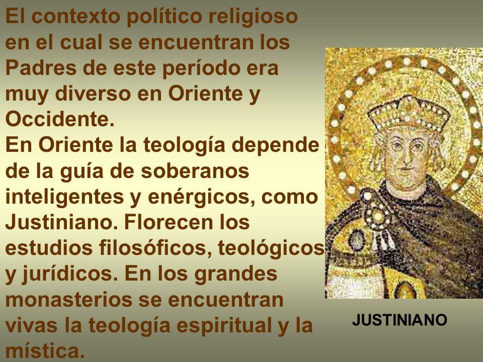 El contexto político religioso en el cual se encuentran los Padres de este período era muy diverso en Oriente y Occidente. En Oriente la teología depe