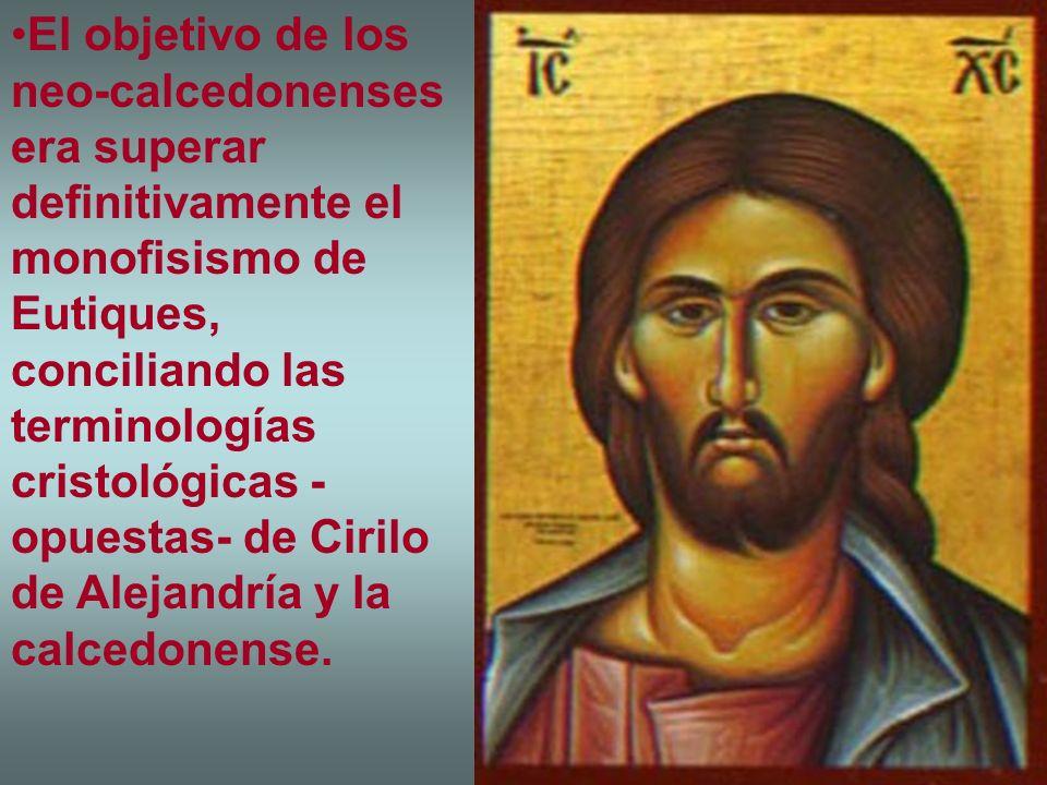 El objetivo de los neo-calcedonenses era superar definitivamente el monofisismo de Eutiques, conciliando las terminologías cristológicas - opuestas- d