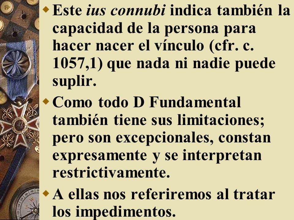 Este ius connubi indica también la capacidad de la persona para hacer nacer el vínculo (cfr. c. 1057,1) que nada ni nadie puede suplir. Como todo D Fu