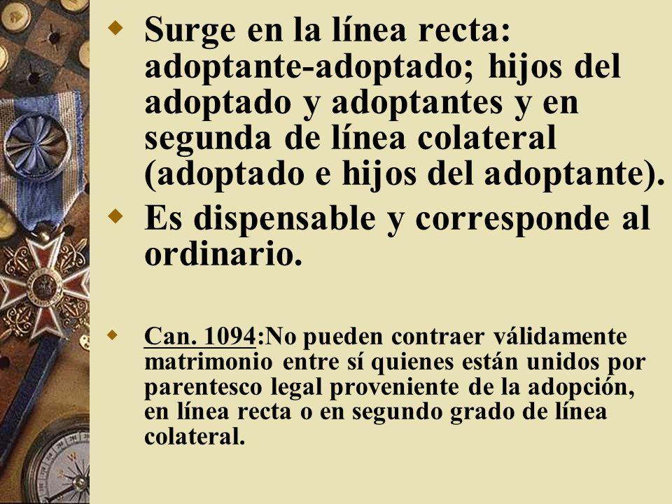 Surge en la línea recta: adoptante-adoptado; hijos del adoptado y adoptantes y en segunda de línea colateral (adoptado e hijos del adoptante). Es disp