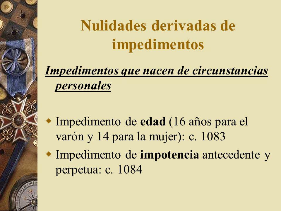 Nulidades derivadas de impedimentos Impedimentos que nacen de circunstancias personales Impedimento de edad (16 años para el varón y 14 para la mujer)