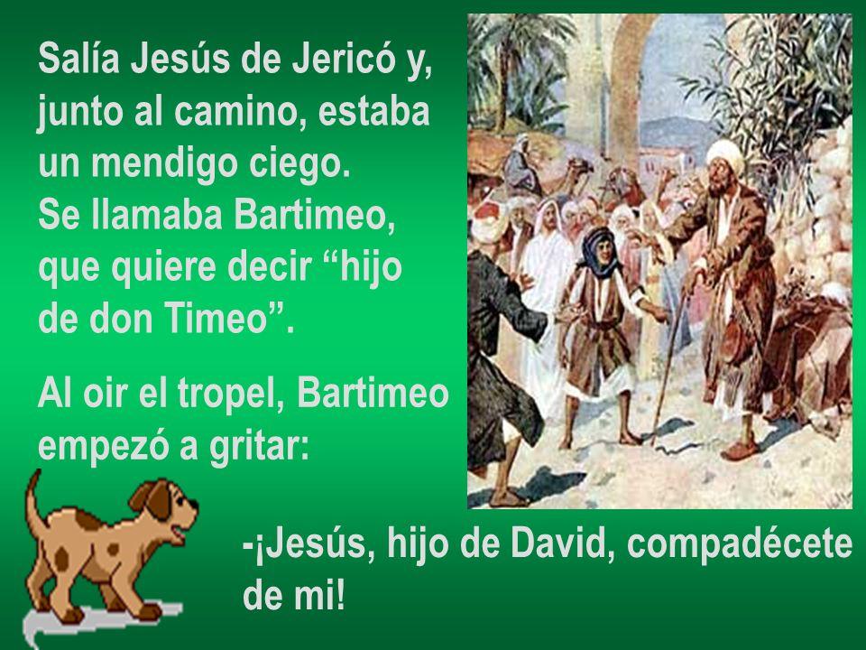 Salía Jesús de Jericó y, junto al camino, estaba un mendigo ciego. Se llamaba Bartimeo, que quiere decir hijo de don Timeo. Al oir el tropel, Bartimeo