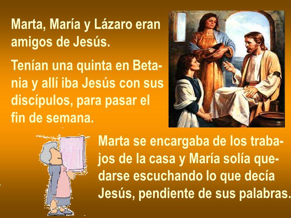 Marta, María y Lázaro eran amigos de Jesús. Tenían una quinta en Beta- nia y allí iba Jesús con sus discípulos, para pasar el fin de semana. Marta se