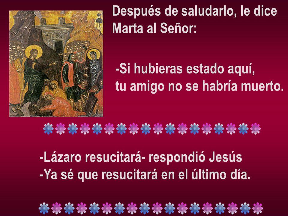 Después de saludarlo, le dice Marta al Señor: -Si hubieras estado aquí, tu amigo no se habría muerto. -Lázaro resucitará- respondió Jesús -Ya sé que r