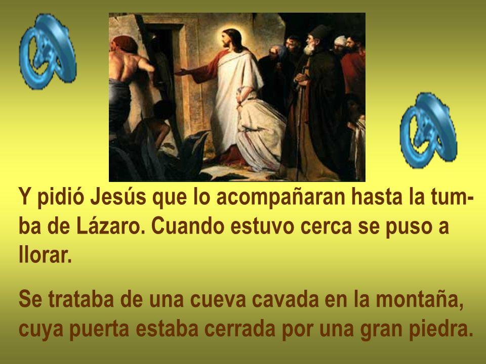 Y pidió Jesús que lo acompañaran hasta la tum- ba de Lázaro. Cuando estuvo cerca se puso a llorar. Se trataba de una cueva cavada en la montaña, cuya