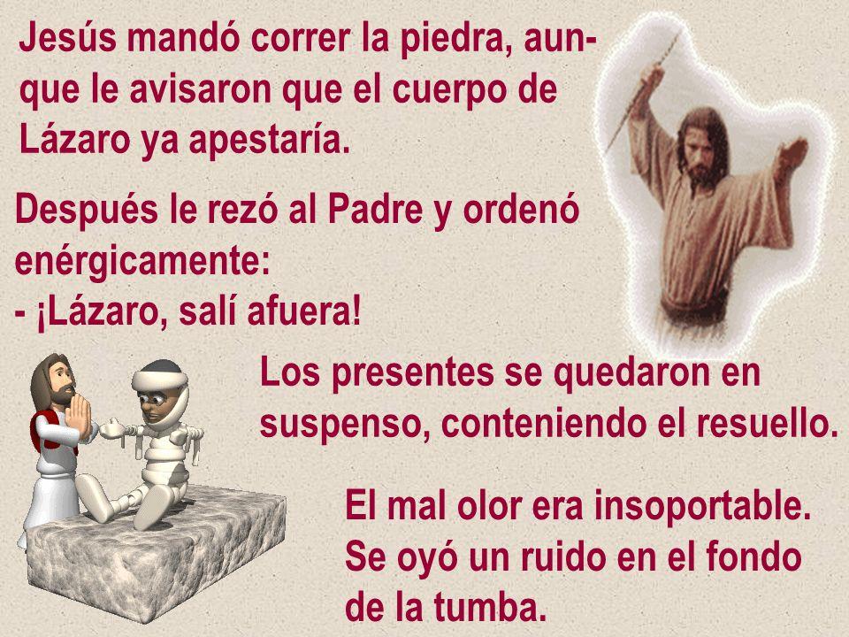 Jesús mandó correr la piedra, aun- que le avisaron que el cuerpo de Lázaro ya apestaría. Después le rezó al Padre y ordenó enérgicamente: - ¡Lázaro, s