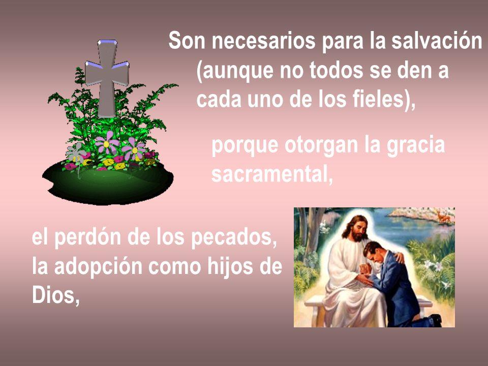 Son necesarios para la salvación (aunque no todos se den a cada uno de los fieles), porque otorgan la gracia sacramental, el perdón de los pecados, la