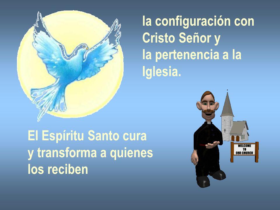 la configuración con Cristo Señor y la pertenencia a la Iglesia. El Espíritu Santo cura y transforma a quienes los reciben