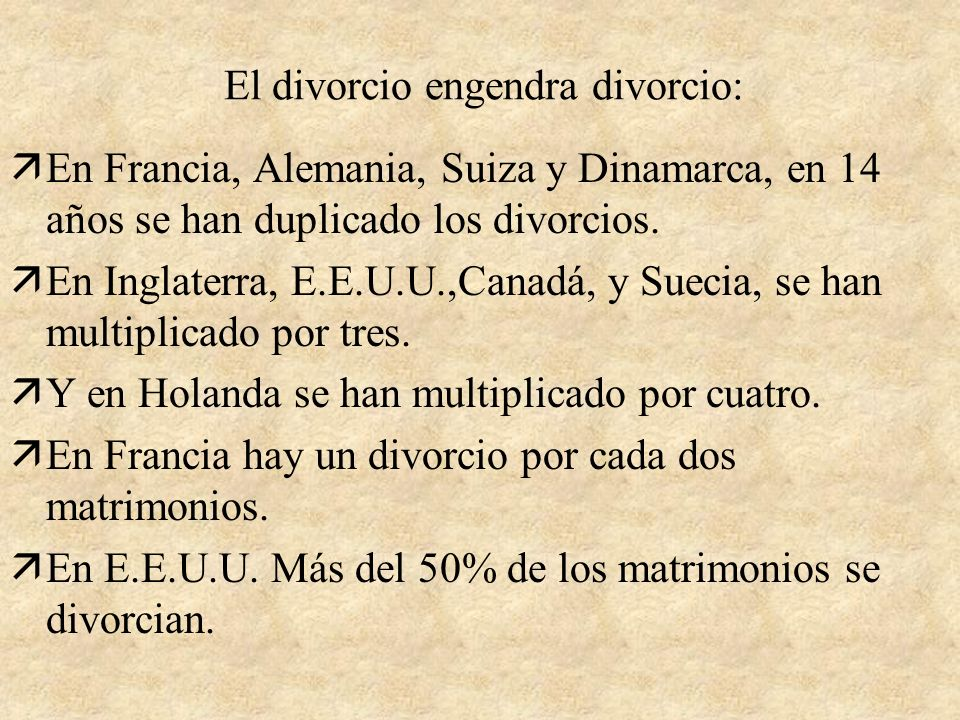El divorcio engendra divorcio: äEn Francia, Alemania, Suiza y Dinamarca, en 14 años se han duplicado los divorcios.