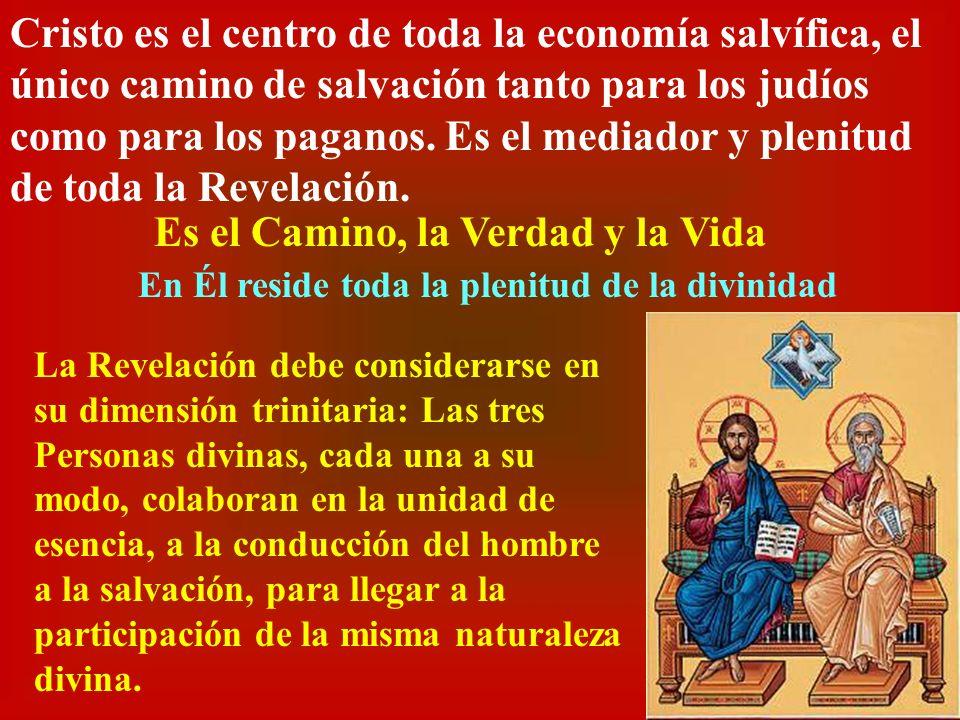 Cristo es el centro de toda la economía salvífica, el único camino de salvación tanto para los judíos como para los paganos. Es el mediador y plenitud