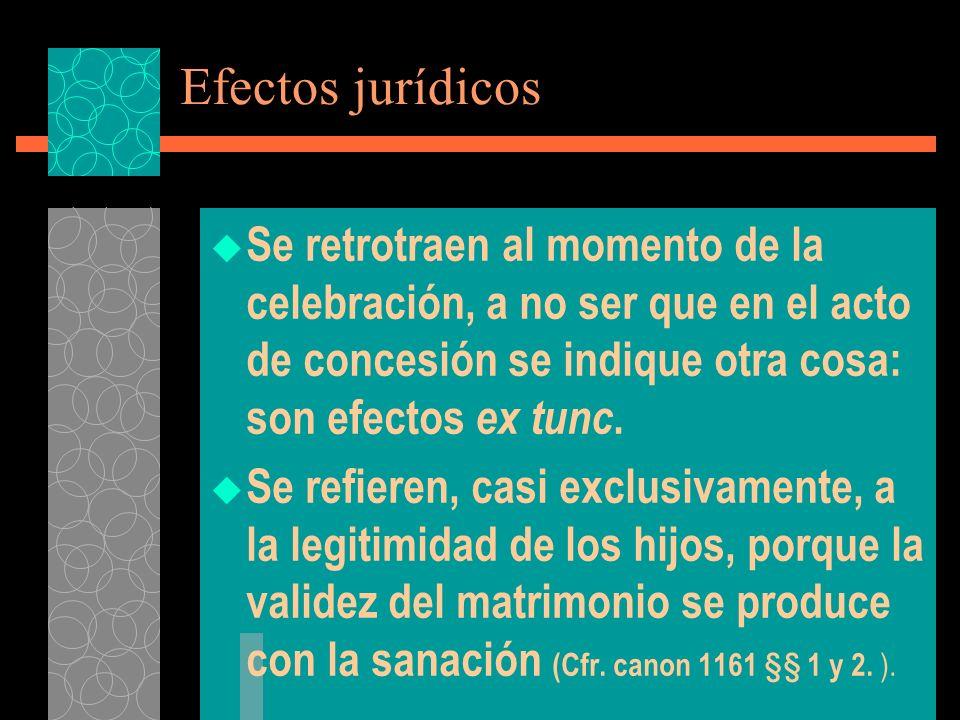 Efectos jurídicos Se retrotraen al momento de la celebración, a no ser que en el acto de concesión se indique otra cosa: son efectos ex tunc. Se refie