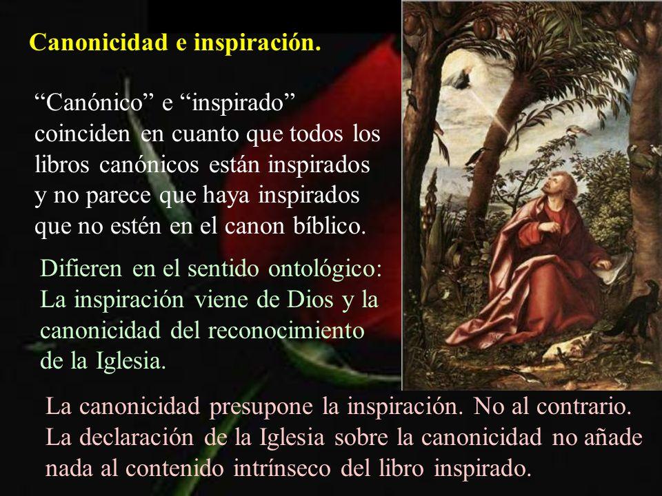 Canonicidad e inspiración. Canónico e inspirado coinciden en cuanto que todos los libros canónicos están inspirados y no parece que haya inspirados qu