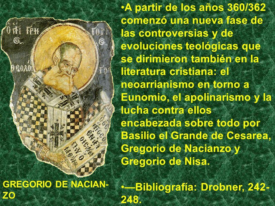 A partir de los años 360/362 comenzó una nueva fase de las controversias y de evoluciones teológicas que se dirimieron también en la literatura cristi