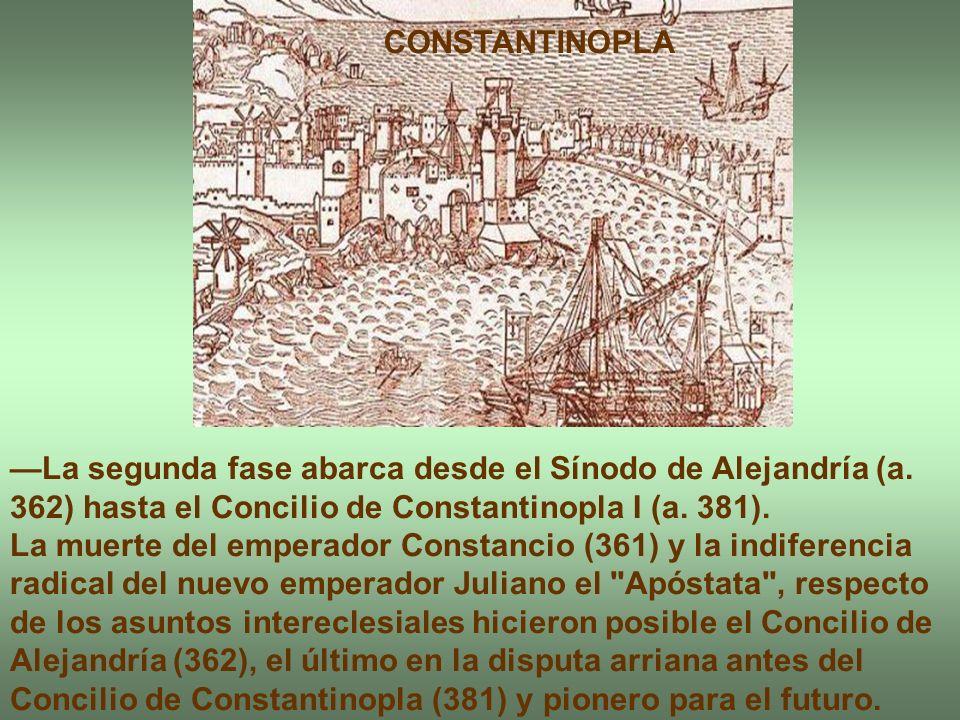 La segunda fase abarca desde el Sínodo de Alejandría (a. 362) hasta el Concilio de Constantinopla I (a. 381). La muerte del emperador Constancio (361)
