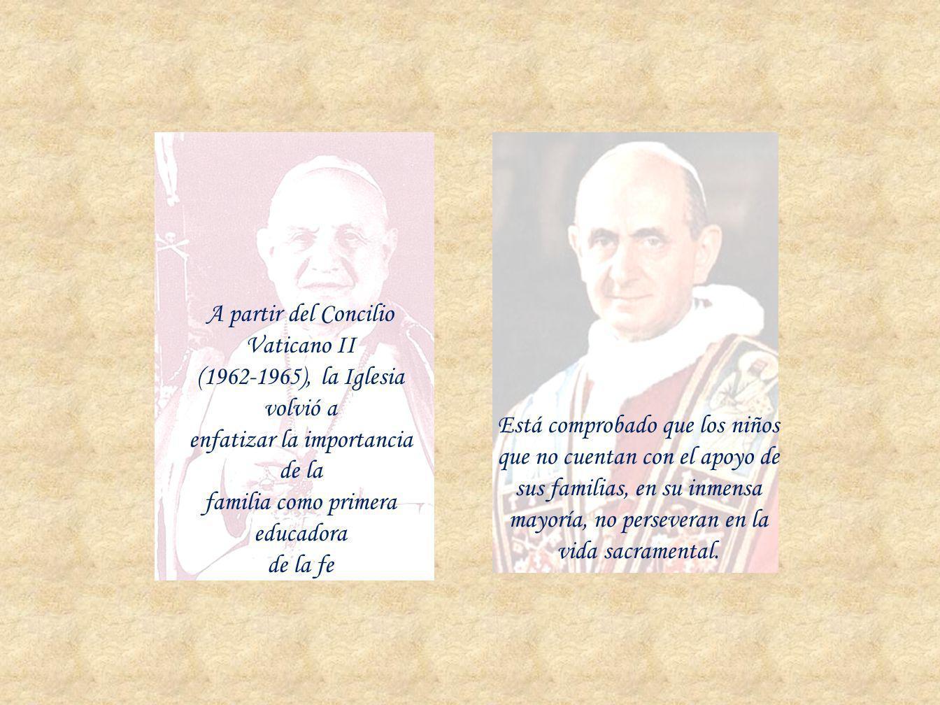 A partir del Concilio Vaticano II (1962-1965), la Iglesia volvió a enfatizar la importancia de la familia como primera educadora de la fe Está comprob